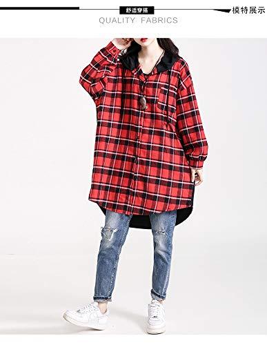 Donne Baggy Camicie Cappotto Windbreaker Vintage Stampate Lunga Incappucciato Digitale Giacca Donna Eleganti Casuali Fashion Outerwear Rosso Manica Casuale Quadretti TKJc3lF1