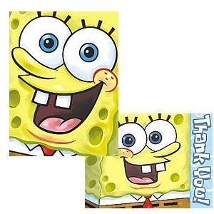 Sponge Bob Birthday Party Supplies - Invite and Thank You Combo by KidsPartyWorld.com