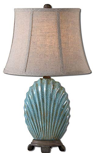 Seashell Table Lamp - Uttermost 29321 Seashell Lamp, Heavily Crackled Blue Glaze
