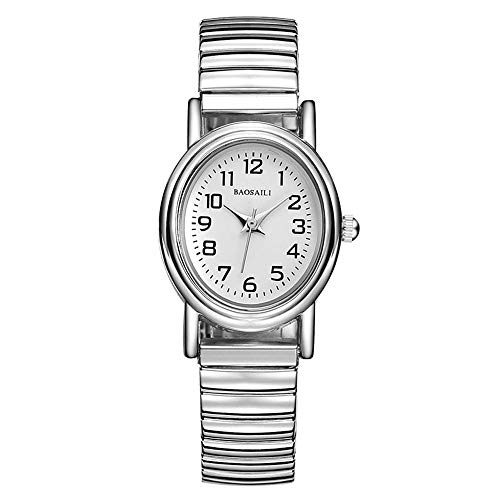 Silver Spring Elastic Band Watches, Arabic Numeral Scale Casual Wrist Watches, White Oval Small Dial