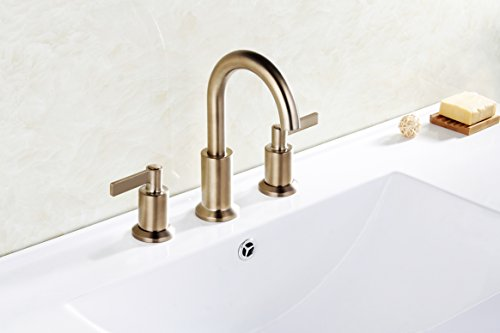 Derengge LFS-0188-CS 8'' Two Handle Widespread Bathroom Faucet with Pop up Drain, Meets UPC cUPC NSF AB1953 Lead Free, Champagne Bronze