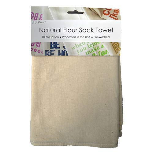 Craft Basics 22707 Flour Sack Towels, Pre-washed, Lint Free, 100% Cotton, 22