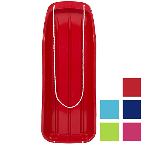 Best Choice Products 48in Kids Outdoor Plastic Sport Toboggan Winter Snow Sled Board Toy w/Pull Rope - Red