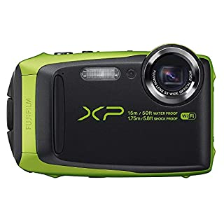 Fujifilm FinePix XP125 Shock & Waterproof Wi-Fi Digital Camera, Black/Lime