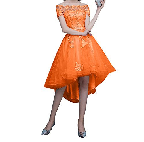 Orange lo Damen Ballkleider Rosa Kurzarm Abendkleider Spitze Kurz Charmant Promkleider Hi Tanzenkleider OS64B4n