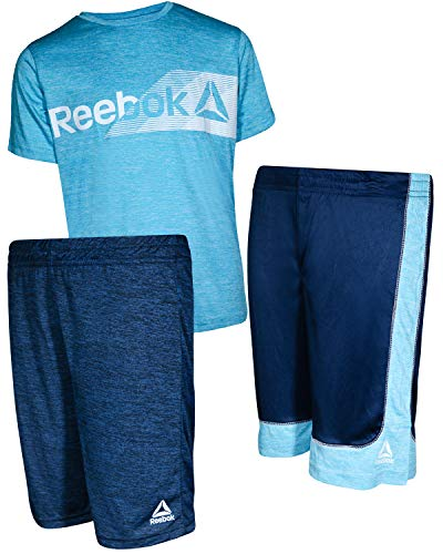 Reebok Boys\' 3 Piece Performance Sports T-Shirt and Short Set, Faux Indigo, Size 3T' - Designer Outfit