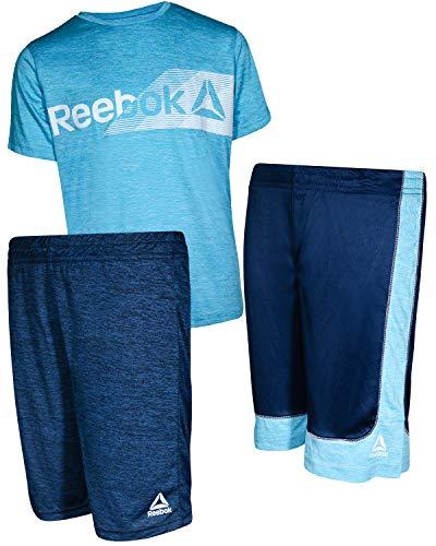 Reebok Boys\' 3 Piece Performance Sports T-Shirt and Short Set, Faux Indigo, Size 4'