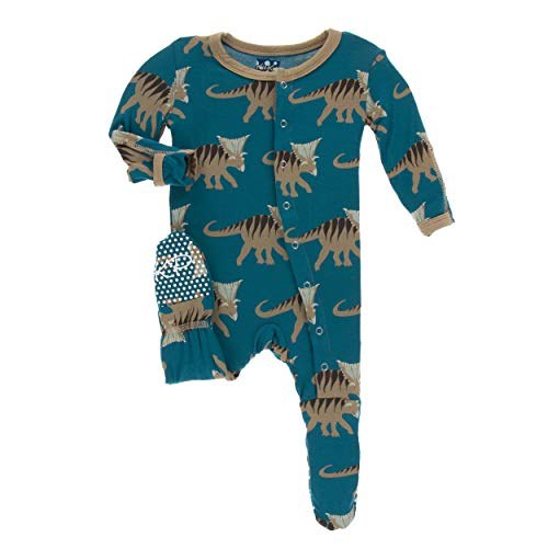 Kickee Pants Little Boys Print Footie with Snaps - Heritage Blue Kosmoceratops, 0-3 Months