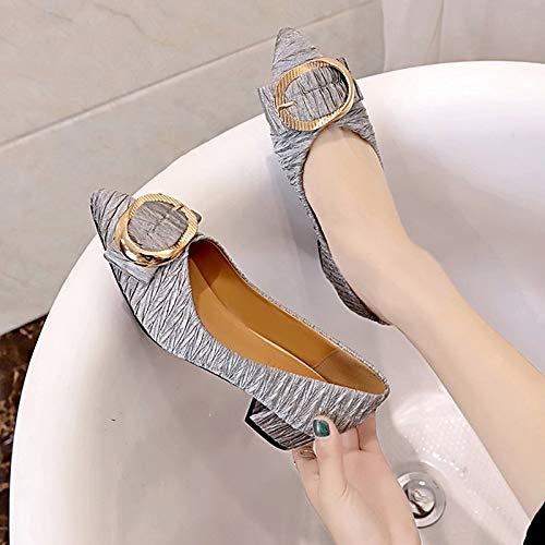 de Mujer Bomba Puntera Tacones PU Negro Beige Beige Tacón Verano Puntiaguda ZHZNVX básicos Zapatos Poliuretano de Gris Grueso de x0BEwCSqnY
