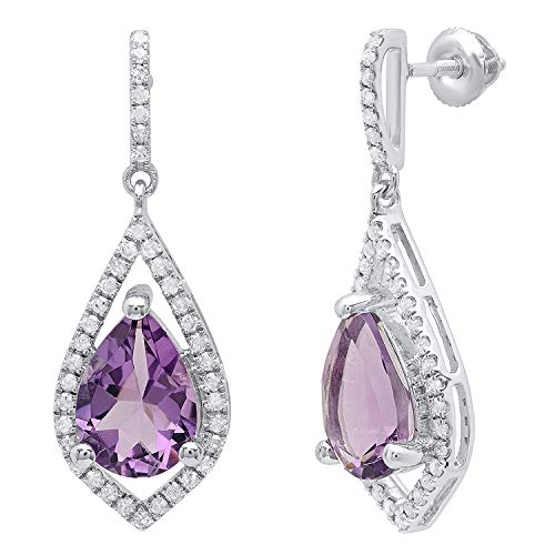 Dazzlingrock Collection 10X7 MM Pear Amethyst & Round Diamond Ladies Dangling Drop Earrings, Sterling Silver ()