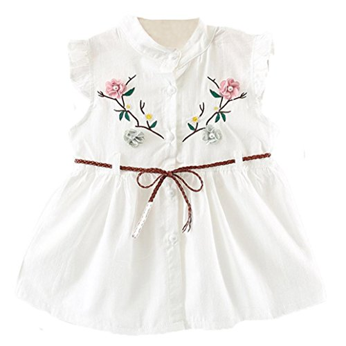 Sunsee Girls Princess Dress, Toddler Kids Baby Girls{6M-24M}Princess Flower Party Sleeve Clothes Dresss Outfits (White, 0-6M=70) (70 Party Clothes)