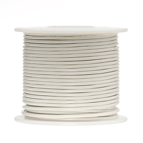 16 AWG Gauge Stranded Hook Up Wire, 250 ft Length, White, 0.0508'' Diameter, UL1015, 600 Volts by Remington Industries