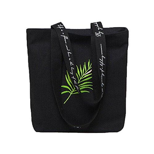 and Bag Crossbody Bag Black For Tote Leaf Handbags Bags White NXDA Women Messenger Canvas Print Shoulder Girls Cute pS6zf