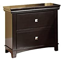 Furniture of America CM7113EX-N Pebble Espresso Nightstand, 24 H