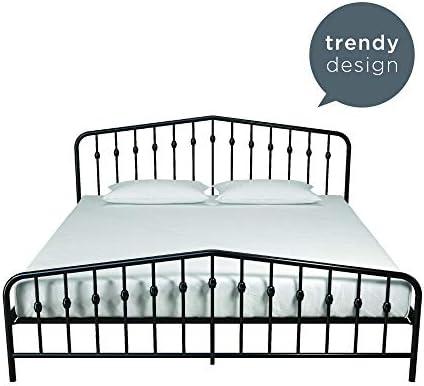 Novogratz Bushwick Metal Bed with Headboard and Footboard | Modern Design | King Size – Black 41GcCAvedvL