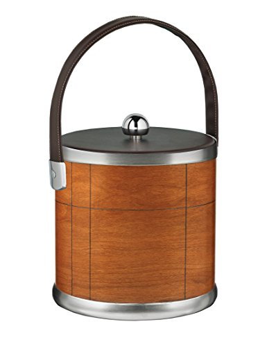 - Kraftware American Artisan Collection Ice Bucket, Cherry with Brown Leatherette Handle - 3 Quart