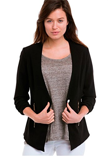 Ellos Women's Plus Size Zip Pocket Blazer Black,22 (Pocket Zip Blazer)