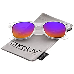 zeroUV - Matte Frosted Frame Reflective Colored Mirror Lens Horn Rimmed Sunglasses 54mm (Frost / Rainbow Mirror)