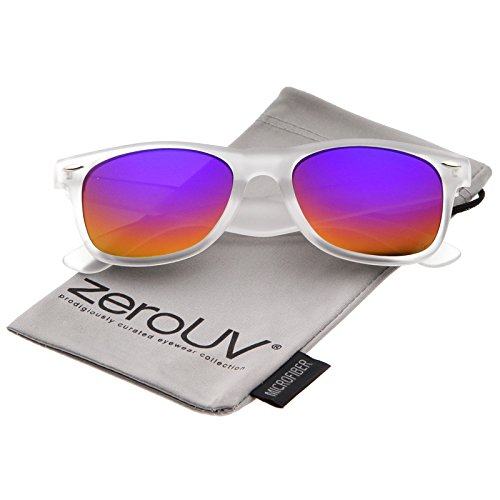 zeroUV - Matte Frosted Frame Reflective Colored Mirror Lens Horn Rimmed Sunglasses 54mm (Frost / Rainbow - Rainbow Sunglasses Reflective