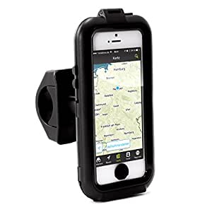 Arendo - water-tight bicycle clip for Apple iPhone 5 / 5S | bicycle case/bag | mobile/Smartphone clip | easy operation | safe attachment | ideal for bike navigation | suitable for all bicycle types and handle bars