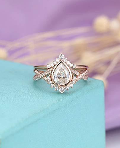 Amazon Com Moissanite Engagement Ring Set 6x8mm Pear Shaped Cut
