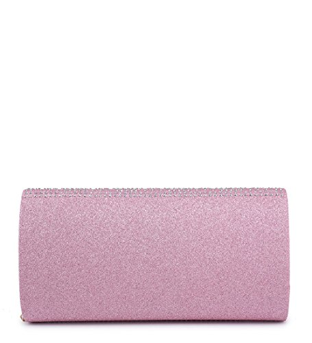 Red Clutch Women's Party Glitter Bag Handbag Diamante Evening Ladies ME68037 Envelope BxFvnCqwx4