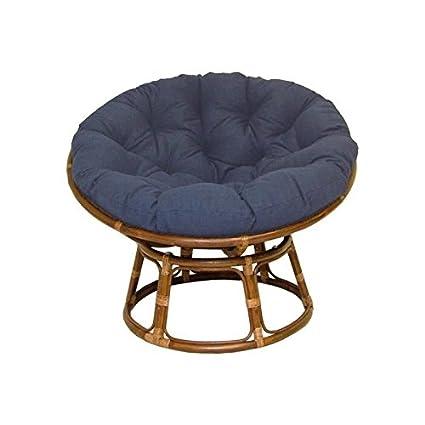 Rattan Papasan Chair With Fabric Cushion