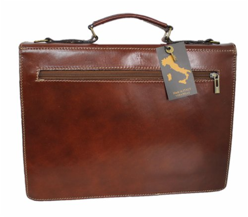 LEATHERWORLD Damen Herren Echt-Leder Tasche Aktentasche Arbeitstasche Notebooktasche Laptoptasche 15 16 17 Zoll DIN A4 Umhängetasche Dokumenten-tasche Büro aus hochwertigem Leder MARRONE 05675