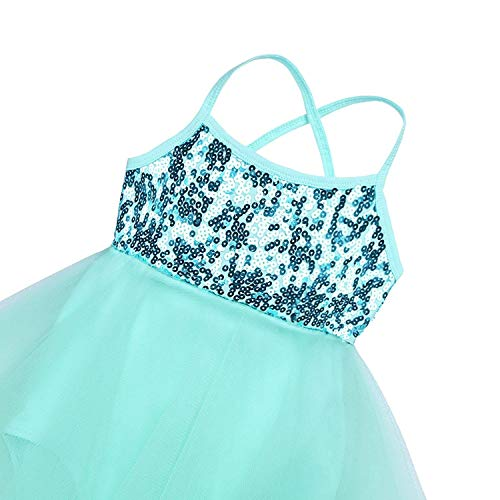 iiniim Kids Girls' Sequined Camisole Ballet Tutu Dress Ballerina Leotard Outfit Dance Wear Costumes (Hi-Lo Mint Green, 10-12) ()