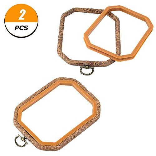 - 2 PCS Rectangle Embroidery Hoops Cross Stitch Hoop Bulk Imitated Wood Embroidery Circle Set for Art Craft Handy Sewing and Hanging