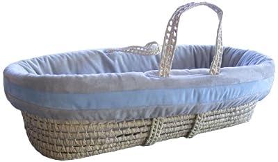 Baby Doll Bedding Zuma Moses Basket Set, Grey/Blue by Baby Doll Bedding