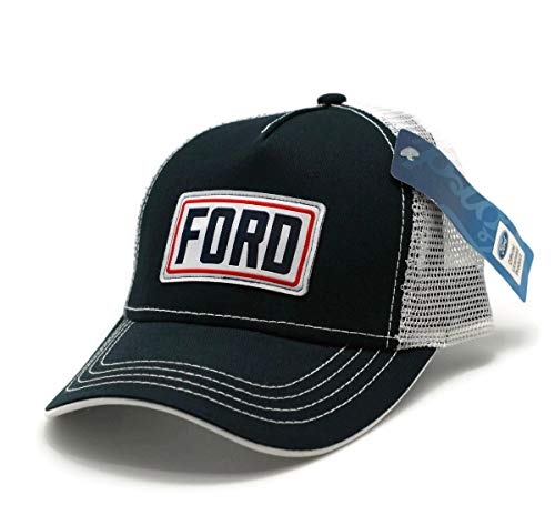 (Hat - Ford Structured Mesh Vented Adjustable Ball Cap Black & White)