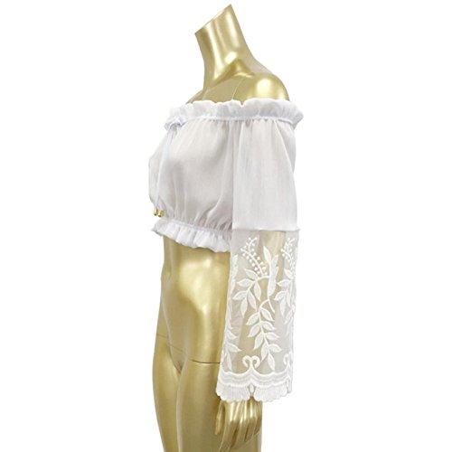 ✽Internet�?Las mujeres del cordón sin tirantes ocasional de la manga larga blusa