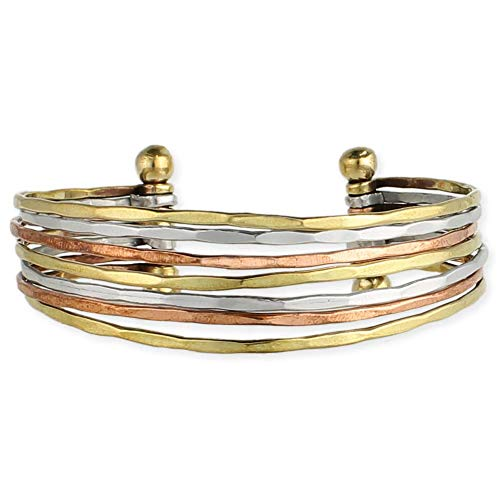 Zad Mixed Metal Hammered Cuff Fashion Bracelet