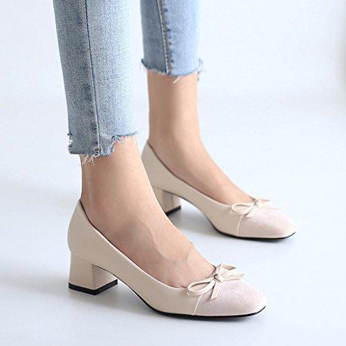Bow épaisseur Femme Beige Couleur Chaussures Casual Simples Bovake Unie Coupe Sandales Mode avec Basse aYqxCgw