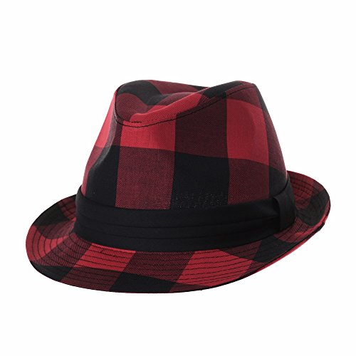 WITHMOONS Fedora Hat Glen Tartan Plaid Check Pttern DW6681 (Red, M) (Fedora Red Plaid)