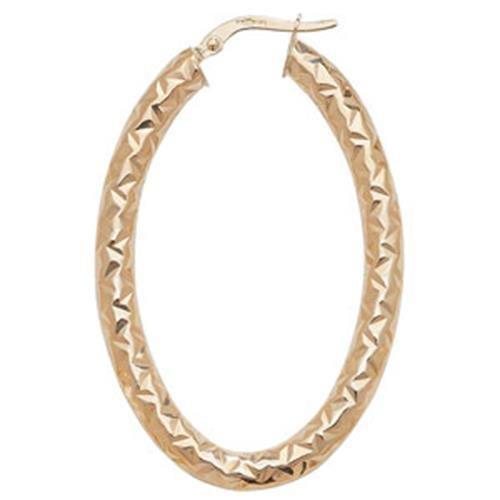 Or 9ct Coupe Diamant Boucles d'oreilles créoles ovale