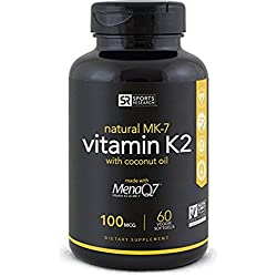 Vitamin K2 (as MK7) 100mcg with Coconut Oil for better absorption   Made with clinically proven MenaQ7 and Formulated without Soy or gluten ~ Non-GMO Verified, Vegan & Vegetarian safe.