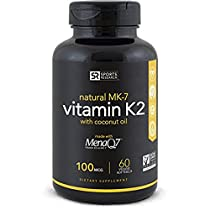 Vitamin K2 (MK7) 100mcg in Cold-Pressed Organic Coconut Oil | Made with clinically proven MenaQ7 and Formulated without Soy, Gluten Or GMOs - 60 Veggie LiquidSoftgels