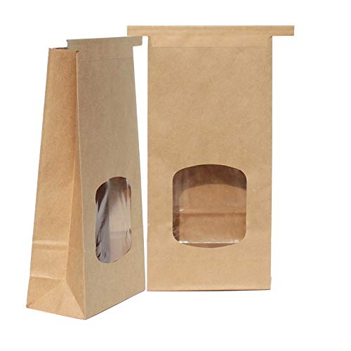 (AwePackage 1 Lb(16 oz) Compostable Kraft Paper Tin Tie Bag with Window (50 Pack))
