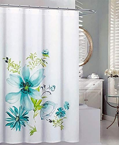 - Tahari Fabric Shower Curtain Floral Pattern Flowers in Shades of Green Turquoise Blue on White - Bloom