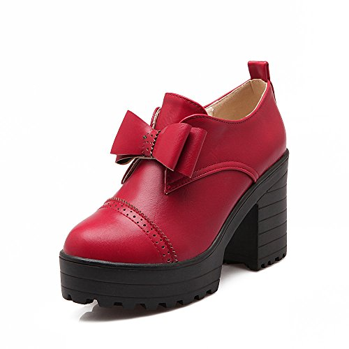 Balamasa Ladies Arcos Chunky Heels Plataforma Bombas De Uretano Zapatos Rojo