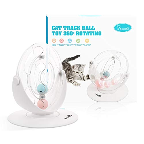 Pecute Cat Toy 360° Space Spinning Ball Toy Roller Cat Toy Mental and Physical Exercise Training Toys Equipped with Bell Dazzle Ball, Cat Mint Ball 10