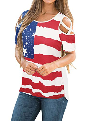 Adreamly Women's Casual Summer Short Sleeve Loose Strappy Cold Shoulder Tops Basic T Shirts Blouses American Flag - Womens American T-shirt Cut