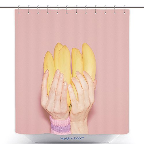 Mildew Resistant Shower Curtains Hands Holding Bunch Of Bananas. Fashion, Vanilla Style Minimalis_468808680 Polyester Bathroom Shower Curtain Set With (Bunch Of Bananas Halloween Costume)