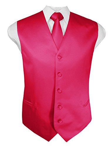 Guytalk Mens 3 Piece Tuxedo Vest for Formal Party, Wedding, Prom, Bartender Medium Fuchsia