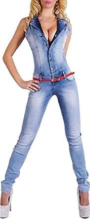 Misslin Women's Bodycon Sexy Lapel Collar Denim Long Jumpsuits M Jean Blue