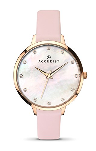 Accurist Ladies Analogue Watch With White Mother of Pearl Dial And Pink Strap 8157