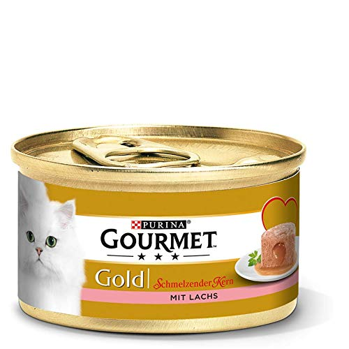 PURINA GOURMET Gold Schmelzender Kern Katzenfutter nass, mit Lachs, 12er Pack (12 x 85g)