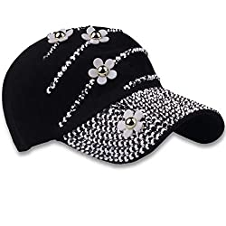 3-Flowerrose Studded Rhinestone Crystals Adjustable Baseball Cap